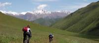 Cycling across the grasslands of Kazakhstan after being dropped off by a helicopter