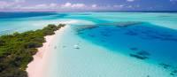 Blue hues of an island's coast